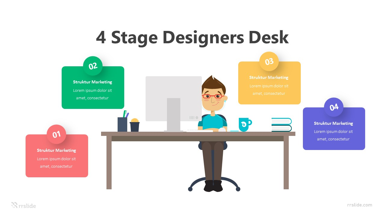 4 Stage Designers Desk Infographic Template