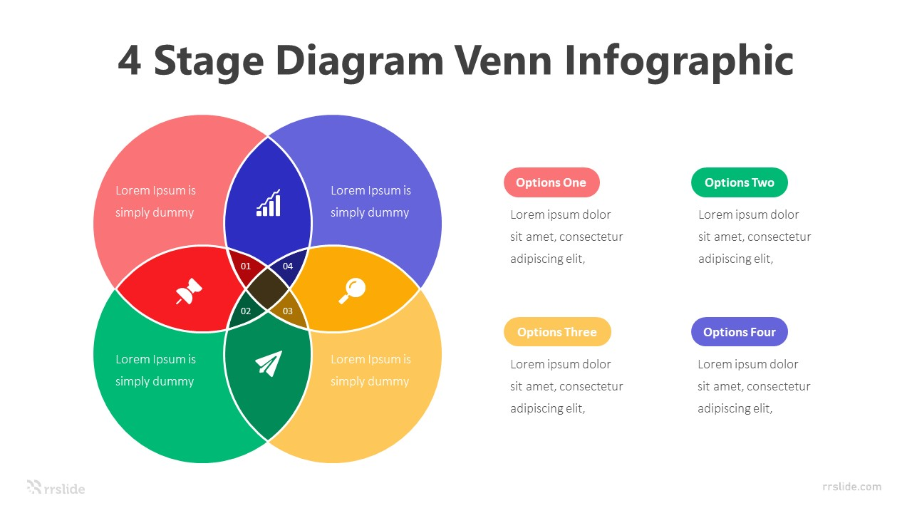 4 Stage Diagram Venn Infographic Template