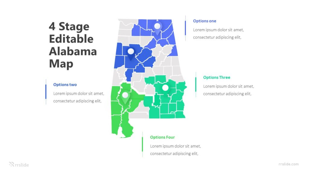 4 Stage Editable Alabama Map Infographic Template