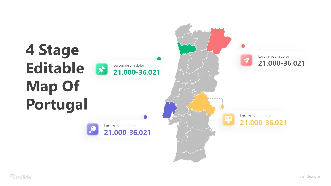 4 Stage Editable Map Of Portugal Infographic Template