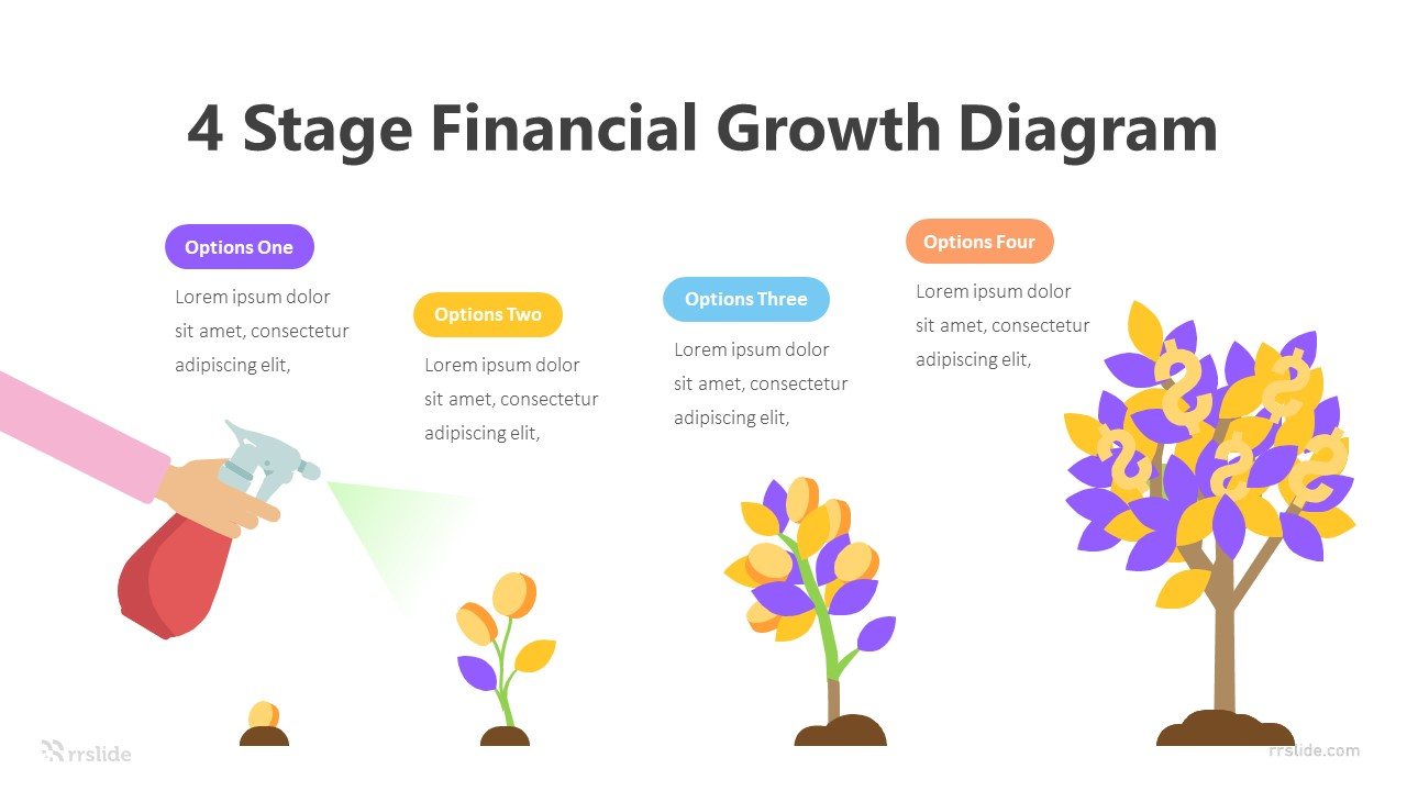 4 Stage Financial Growth Diagram Infographic Template