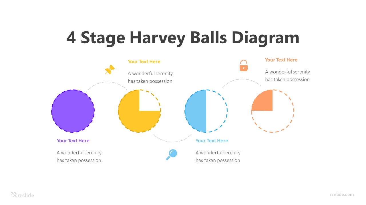 4 Stage Harvey Balls Diagram Infographic Template