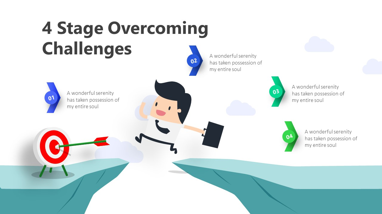 4 Stage Overcoming Challenges Infographic Template