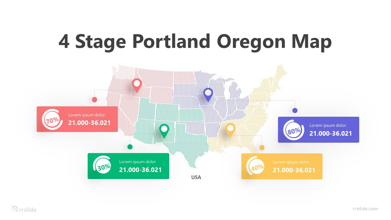 4 Stage Portland Oregon Map Infographic Template
