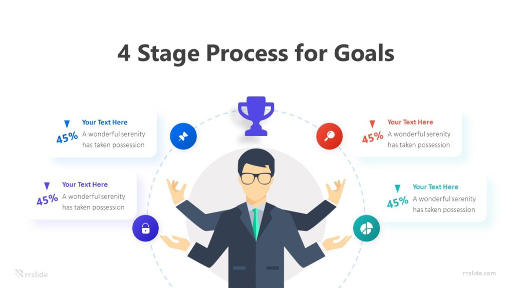4 Stage Process For Goals Infographic Template