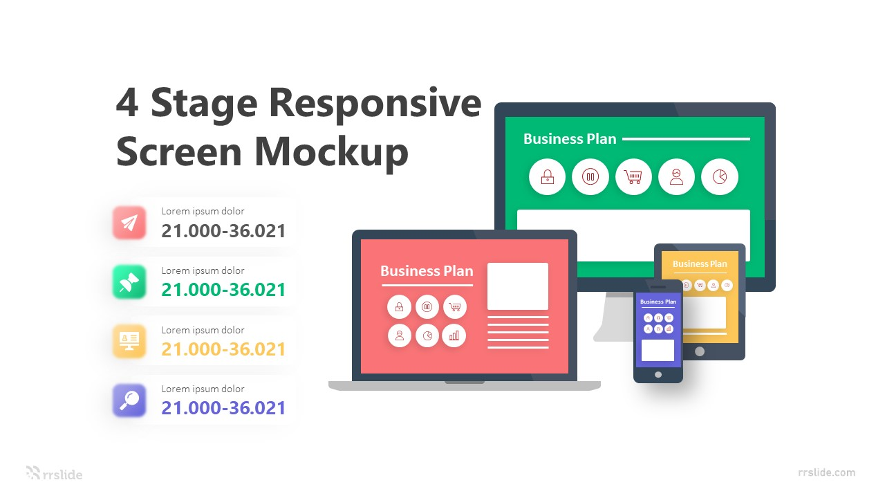 4 Stage Responsive Screen Mockup Infographic Template