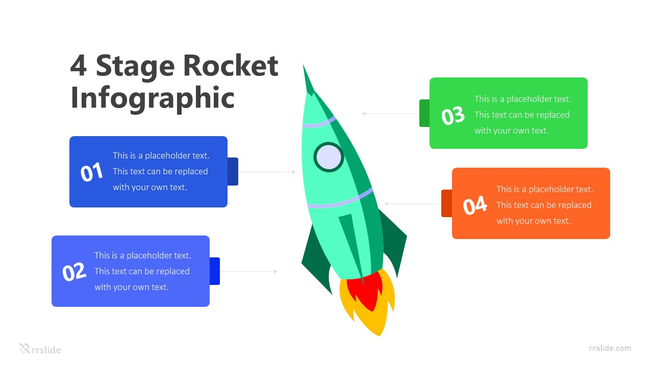 4 Stage Rocket Infographic Template