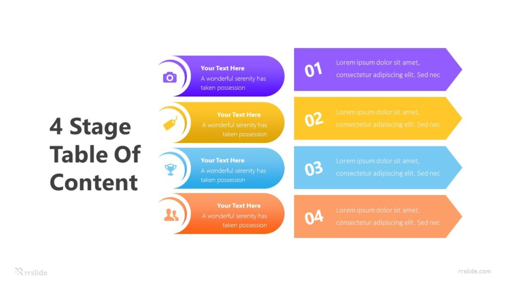 4 Stage Table Of Content Infographic Template