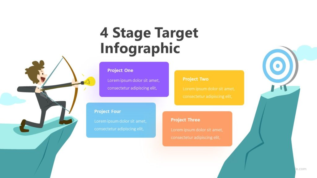 4 Stage Target Infographic Template