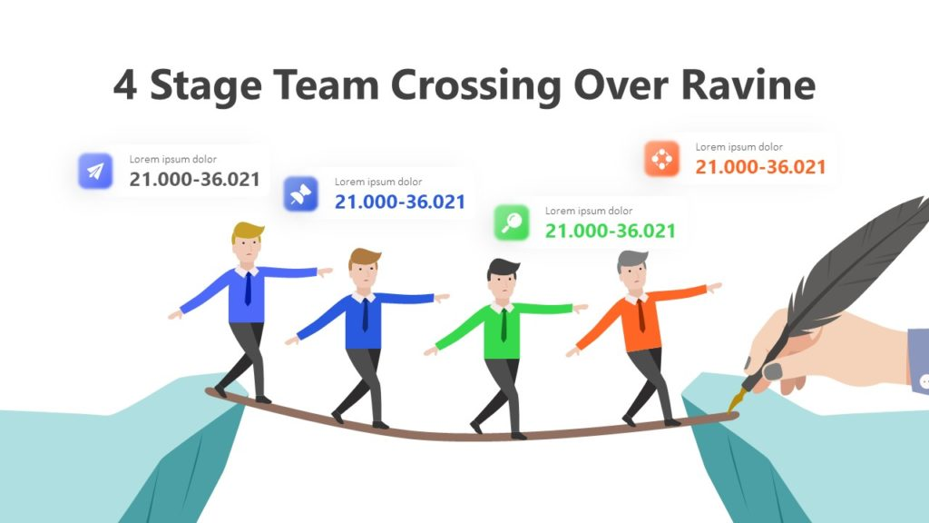 4 Stage Team Crossing Over Ravine Infographic Template