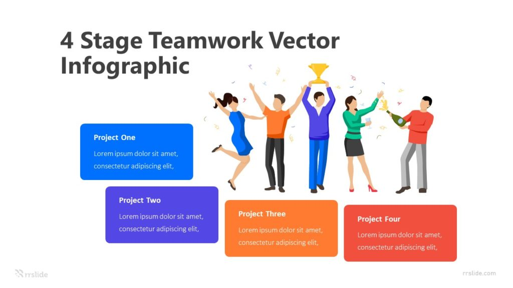 4 Stage Teamwork Handshake Infographic Template