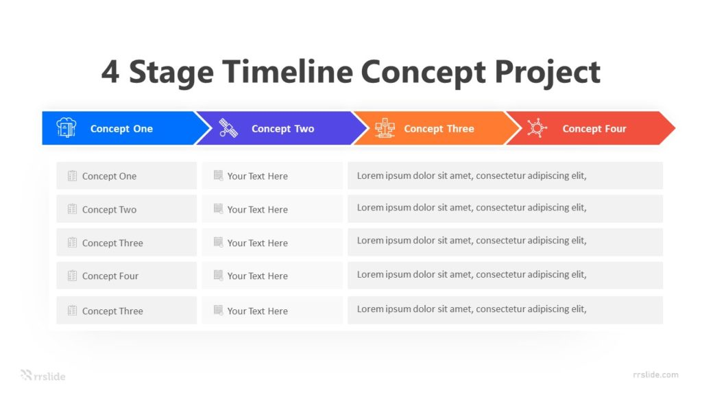 4 Stage Timeline Concept Project Infographic Template