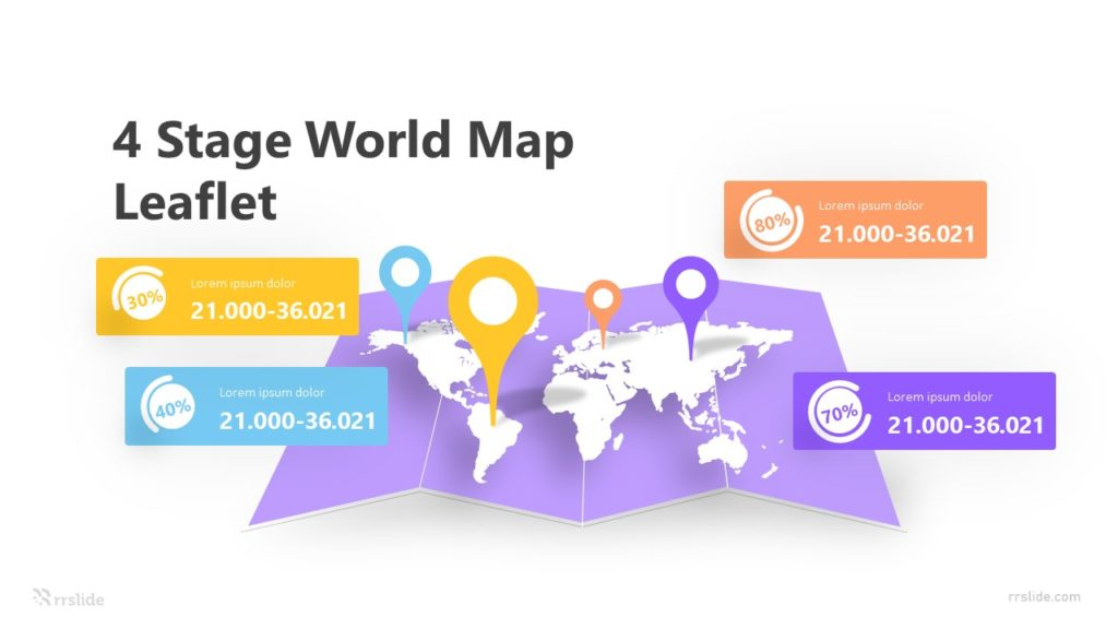4 Stage World Map Leaflet Infographic Template