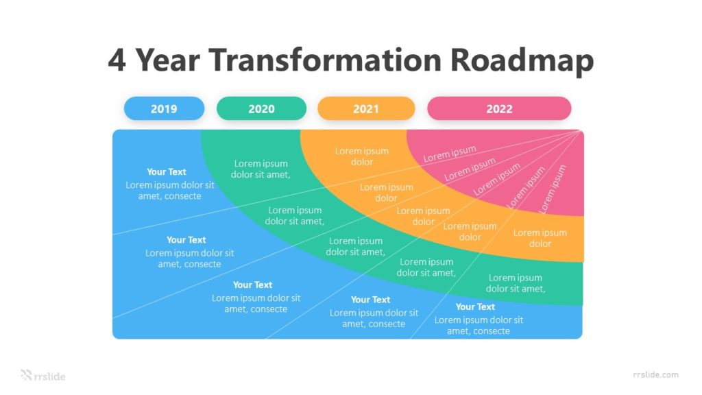4 Stage Year Transformation Roadmap Infographic Template