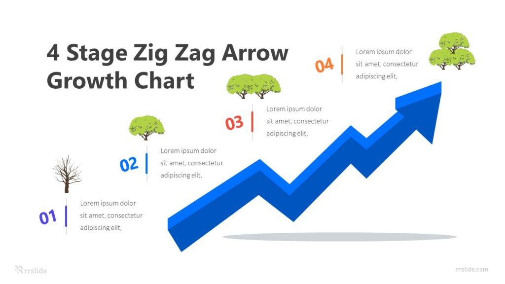 4 Stage Zig Zag Arrow Growth Chart Infographic Template