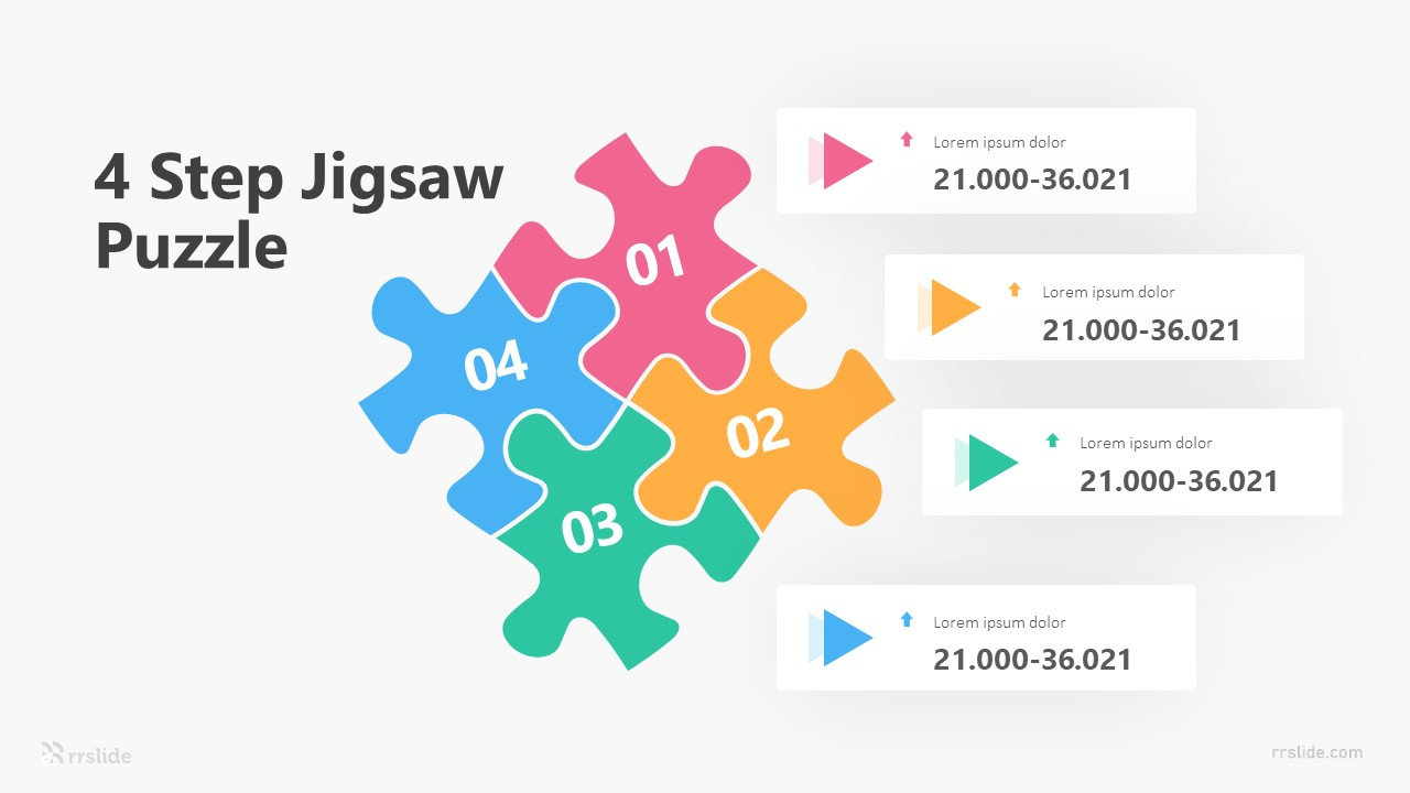 4 Step Jigsaw Puzzle Infographic Template