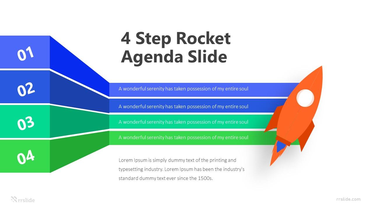 4 Step Rocket Agenda Slide Infographic Template