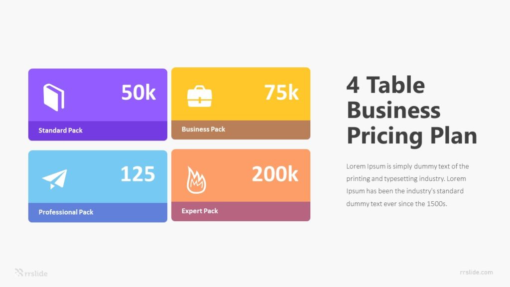 4 Table Business Pricing Plan Infographic Template