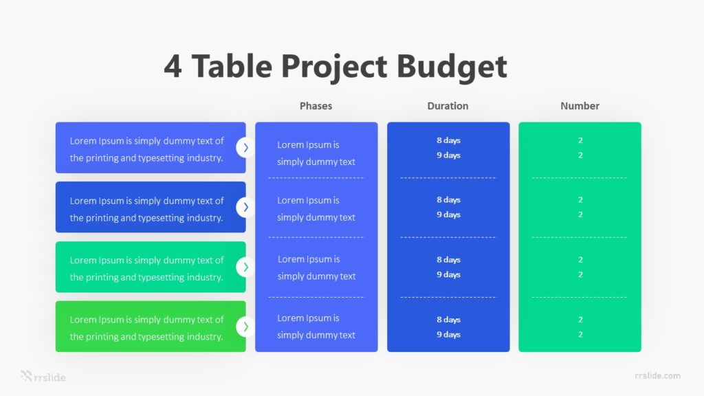 4 Table Project Budget Infographic Template