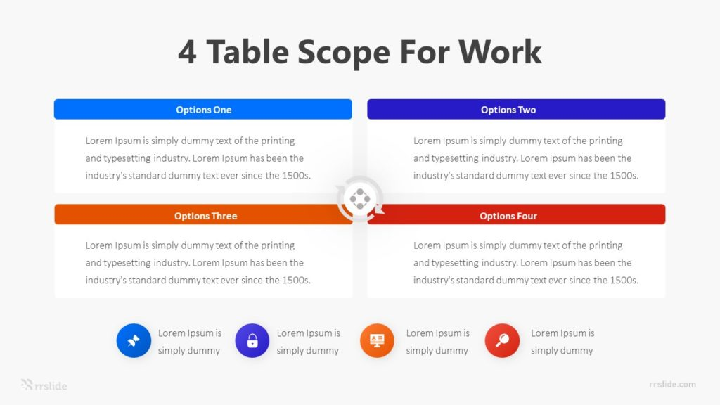 4 Table Scope For Work Infographic Template