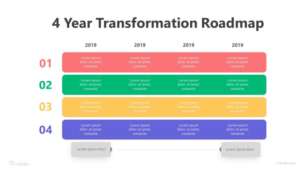 4 Year Transformation Roadmap Infographic Template