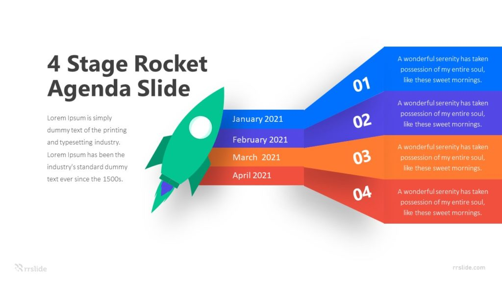 4 Stage Rocket Agenda Slide Infographic Template