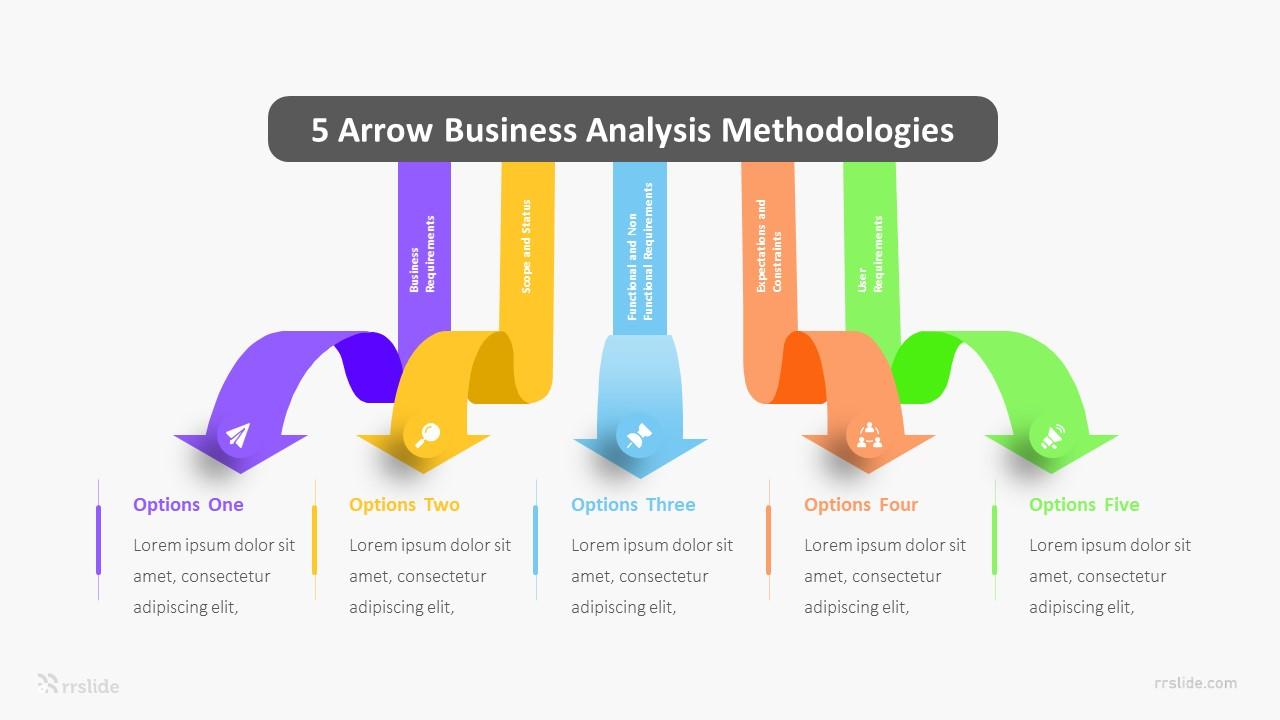 5 Arrow Business Analysis Methodologies Infographic Template