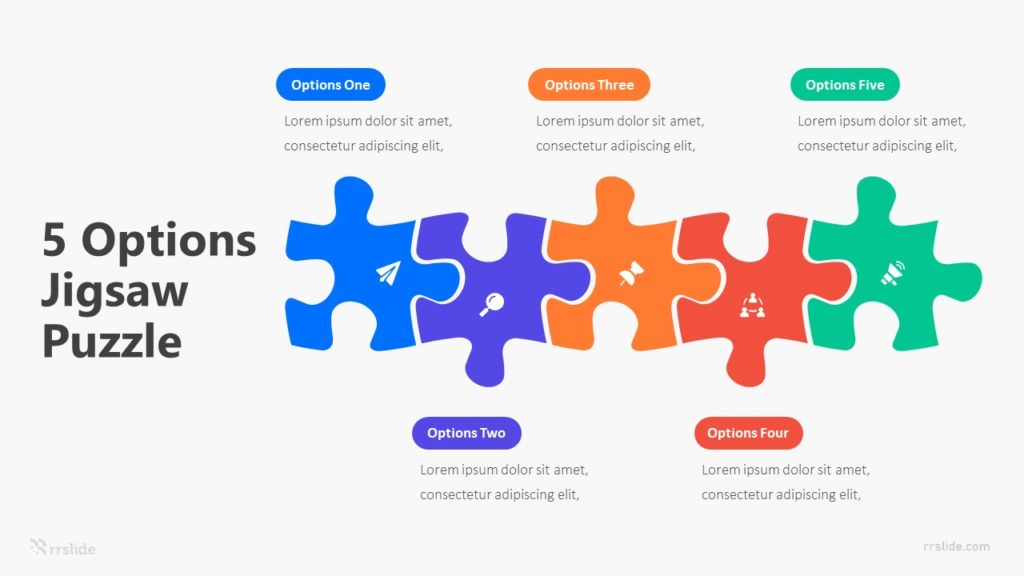 5 Options Jigsaw Puzzle Infographic Template