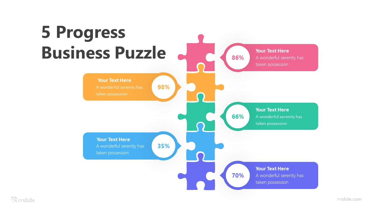 5 Progress Business Puzzle Infographic Template