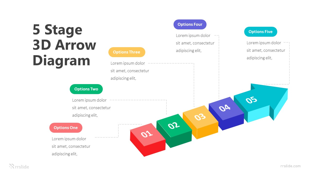 5 Stage 3D Arrow Diagram Infographic Template