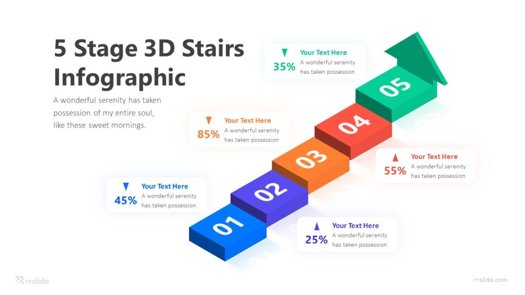 5 Stage 3D Stairs Infographic Template