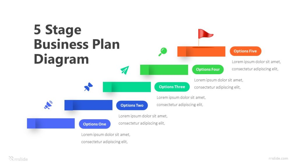 5 Stage Business Plan Diagram Infographic Template