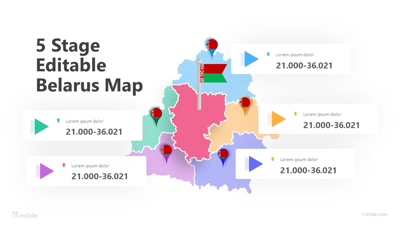 5 Stage Editable Belarus Map Infographic Template
