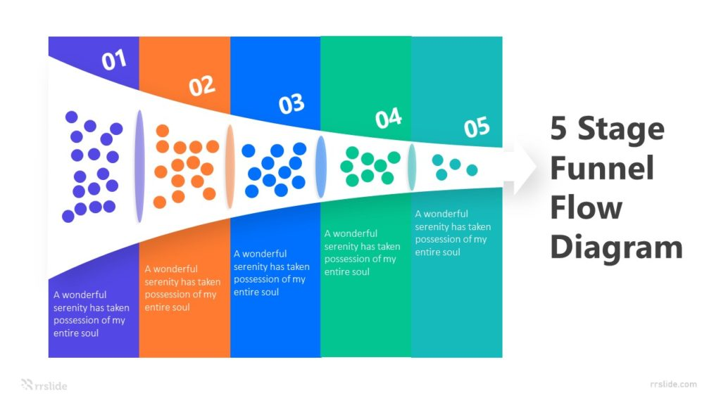 5 Stage Funnel Flow Diagram Infographic Template