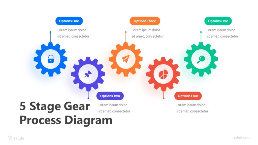 5 Stage Gear Process Diagram Infographic Template