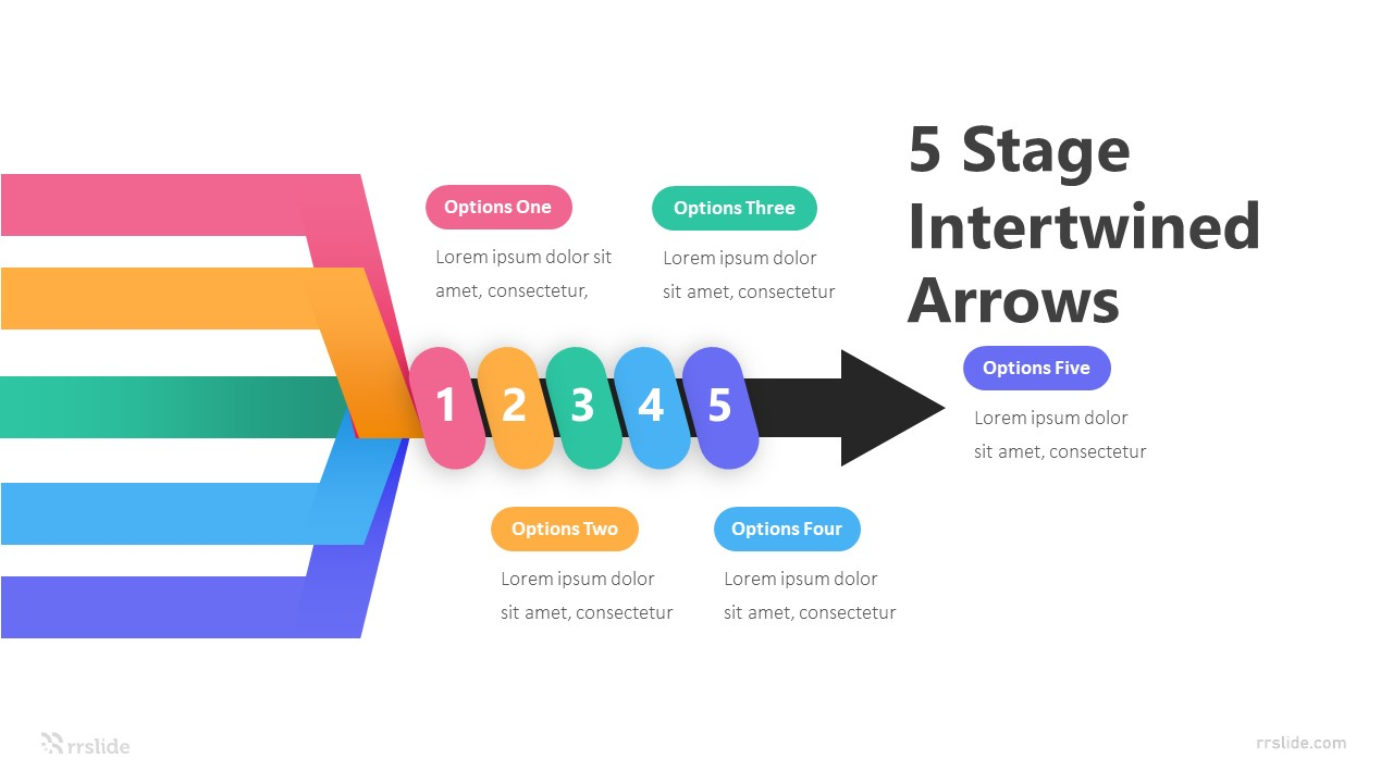5 Stage Intertwined Arrows Infographic Template