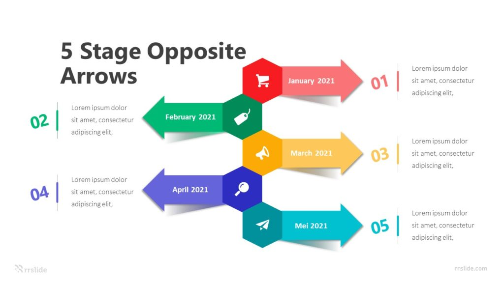5 Stage Opposite Arrows Infographic Template
