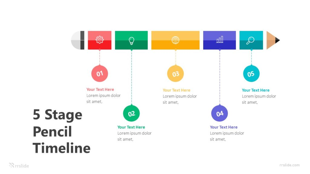 5 Stage Pencil Timeline Infographic Template