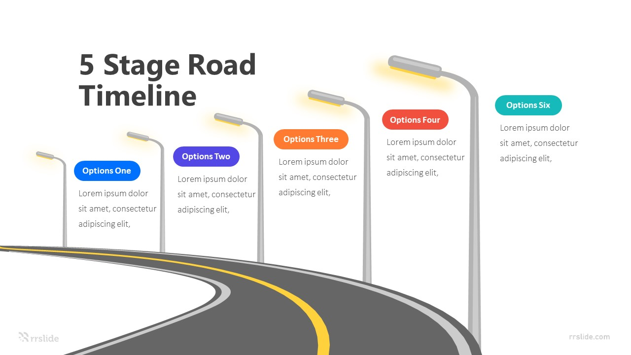 5 Stage Road Timeline Infographic Template