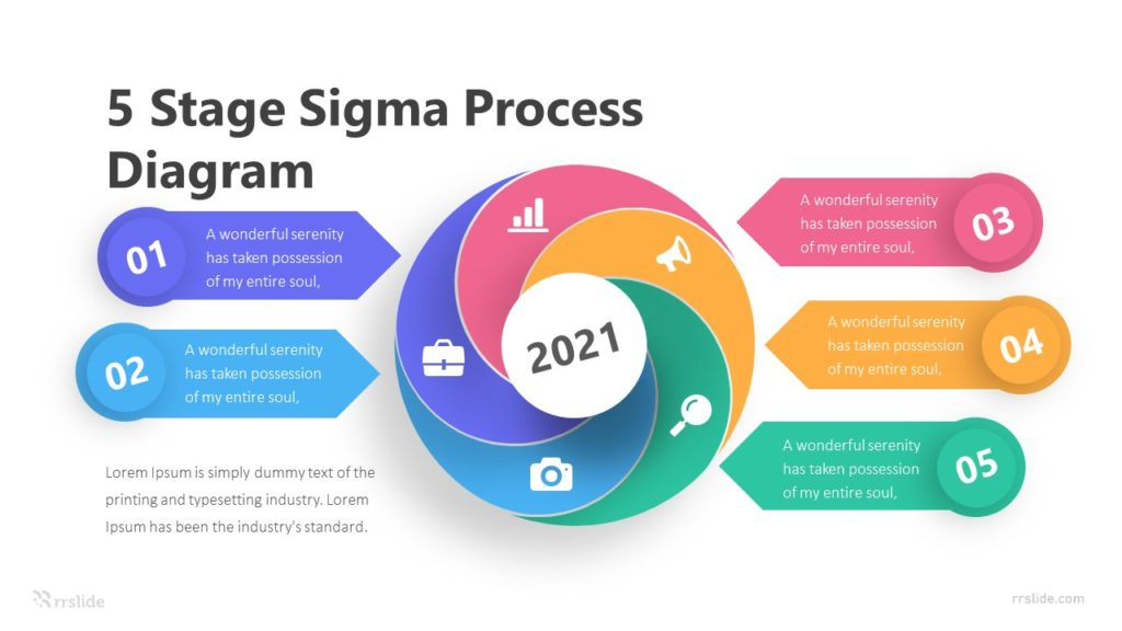 5 Stage Sigma Process Diagram Infographic Template