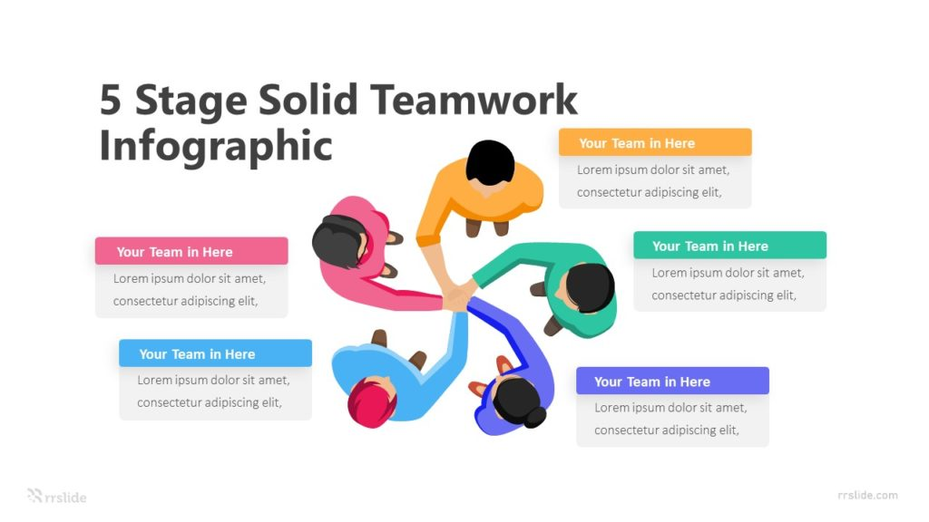 5 Stage Solid Teamwork Infographic Template