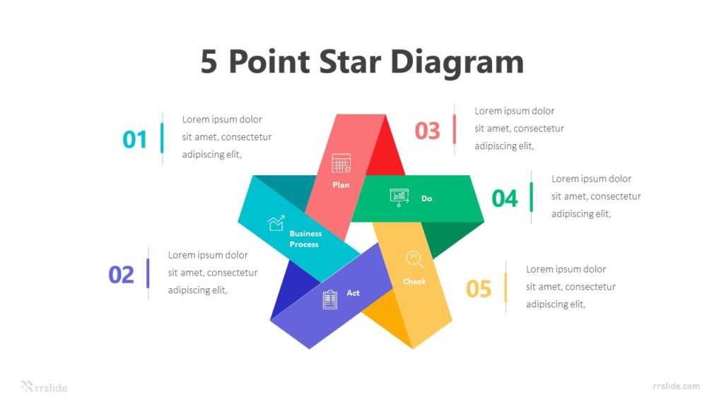 5 Step Point Star Diagram Infographic Template