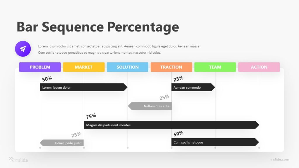6 Bar Sequence Percentage Infographic Template
