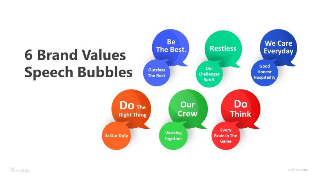 6 Brand Values Speech Bubbles Infographic Template