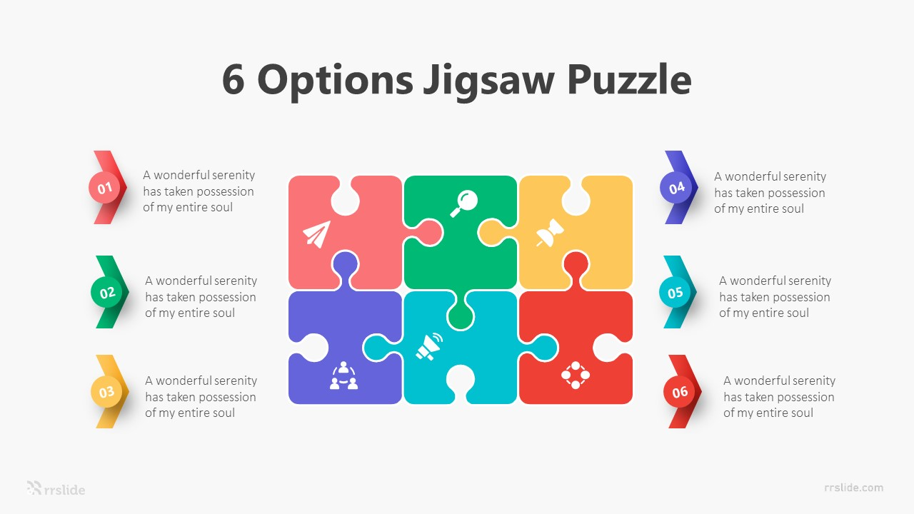 6 Options Jigsaw Puzzle Infographic Template