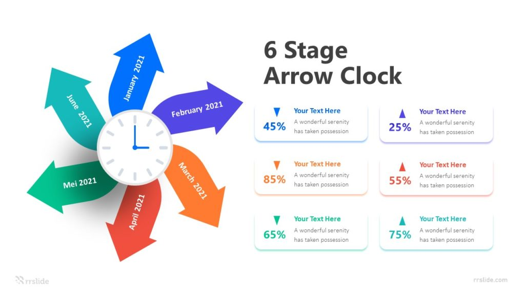 6 Stage Arrow Clock Infographic Template