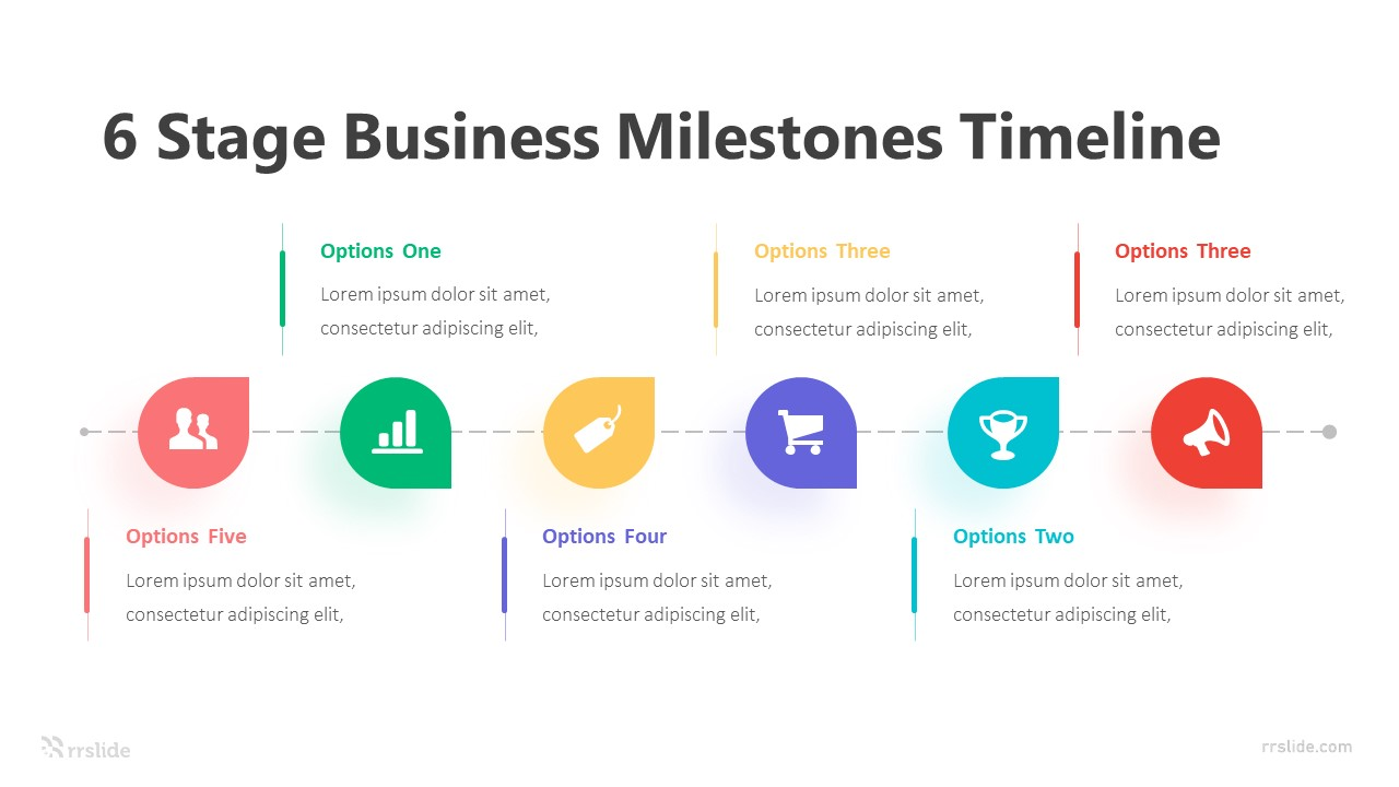 6 Stage Business Milestones Timeline Infographic Template