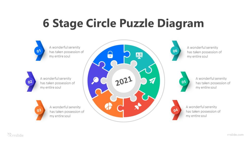 6 Stage Circle Puzzle Diagram Infographic Template