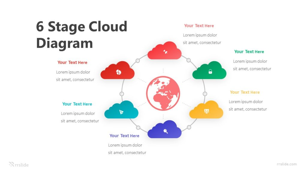 6 Stage Cloud Diagram Infographic Template