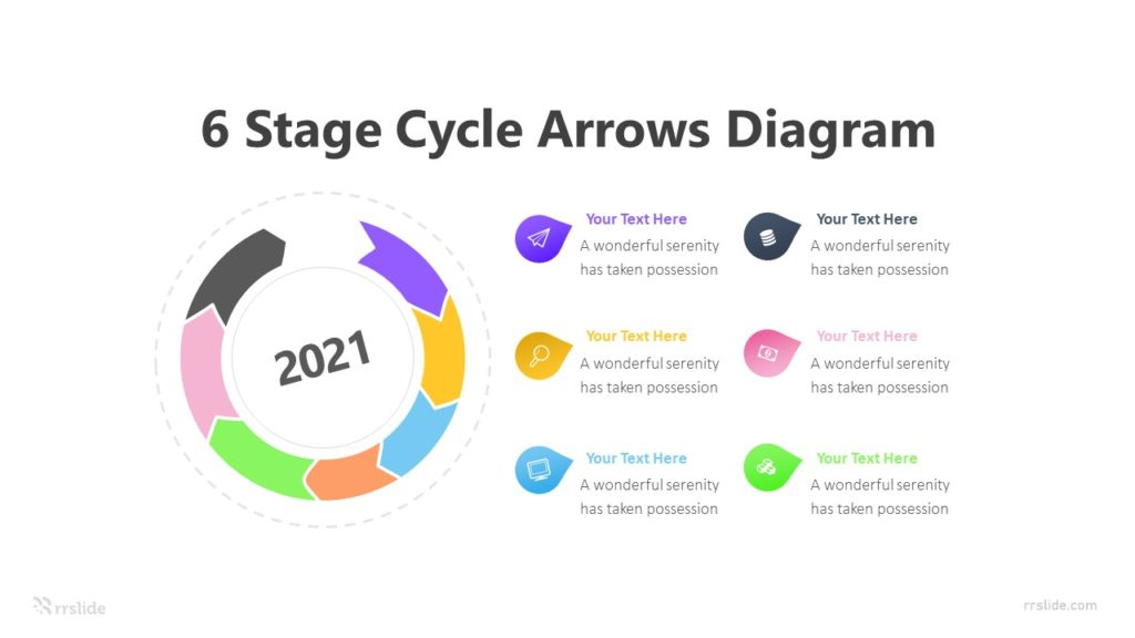 6 Stage Cycle Arrows Diagram Infographic Template